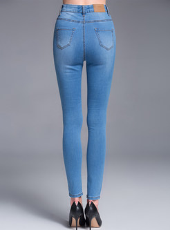 Brief Dip-Dyed Slim High-Waist Denim Pants
