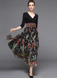 Stylish Stitching High Waist Maxi Dress