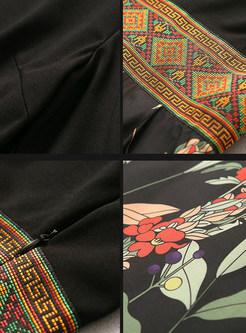 Print Patchwork High Waisted Maxi Dress