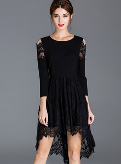 Sexy Lace Asymmetrical Off Shoulder Skater Dress