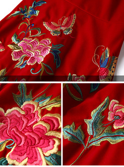 Ethnic Embroidery Improved Cheongsam Skater Dress