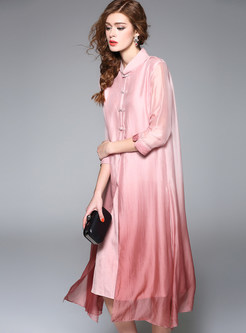 Elegant Silk Pure Color Shift Dress