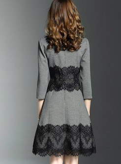 Vintage Lace Houndstooth O-neck Skater Dress
