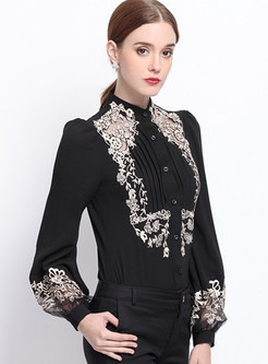 Fashion Lace Embroidered Stand Collar Blouse