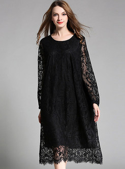 Oversize Hollow Out Lace Embroidery Shift Dress