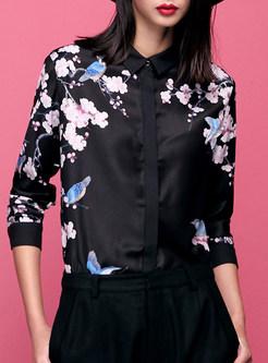 594aac57b1ca08 Black Brief Floral Print Blouse ...