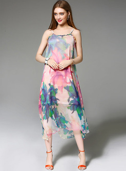 Loose Big Hem Floral Print Silk Slip Dress