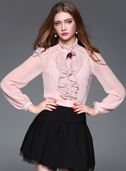 Stylish Falbala Collar Slim Blouse