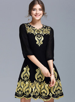 Chic Embroidered Half Sleeve Skater Dress ... 6a60b9400