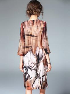 3/4 Sleeve Print O-neck Shift Dress