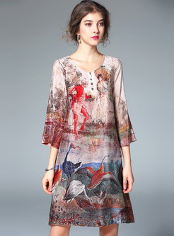 Retro 3/4 Sleeve Print Shift Dress