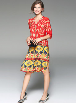 V-neck Half Sleeve Print Silk Shift Dress