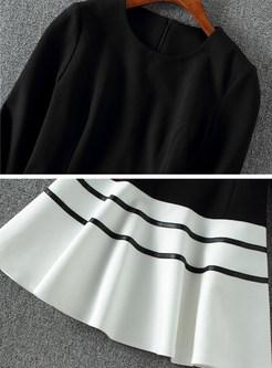 O-Neck Patch Hit Color A-Line Skater Dress