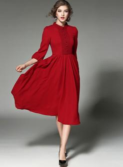 Brief Scalloped Collar Waist Lace Skater Dress
