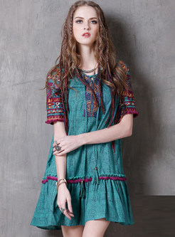 Vintage Linen Patch Ethic Peplum Shift Dress
