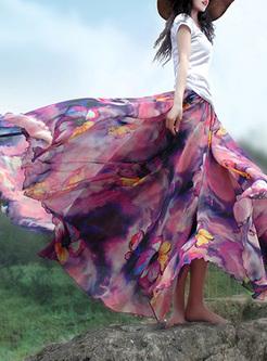 BOHO Floral Print Layered A-line Skirt