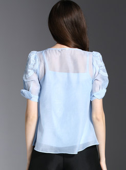 Fashion O-neck Pure Color T-shirt