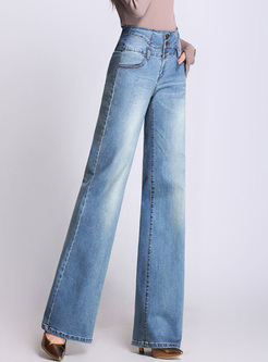 Chic Buttoned High Waist Wide Leg Jeans