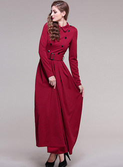 Vintage Turn Down Collar A-line Maxi Dress
