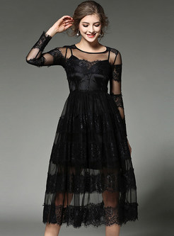 Sexy Mesh Patch Lace See-through Skater Dress With Underskirt