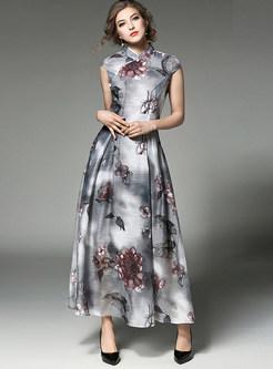 Vintage Stand Collar Print Maxi Dress
