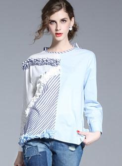 Cute O-neck Hit Color Asymmetrical T-Shirt
