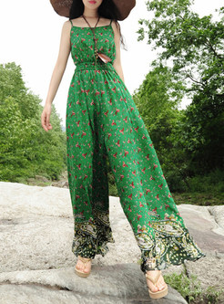 Ethnic Print Slim High Waist Jumpsuit