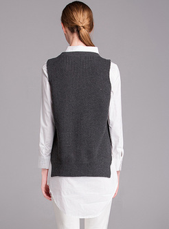 Loose Sleeveless Grey Pullover Sweater