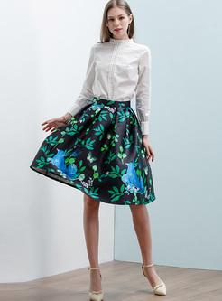 ball gown skirt. chic floral print high waist ball gown skirt e