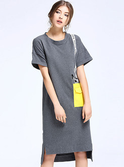 5dc8e66ee5 Brief Short Sleeve O-neck Hit Color 100% Cotton T-shirt Dress