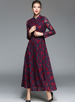 Retro Stand Collar Hit Color Lace Hollow Out Maxi Dress