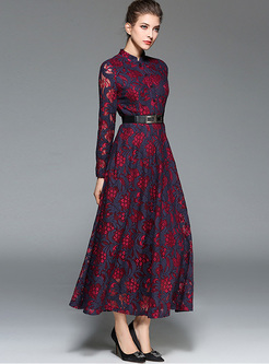 Mock Neck Lace Openwork Print Maxi Dress