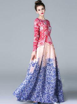 Fashionbale Print Jacquard Big Hem Maxi Dress