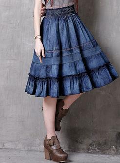 Retro A-line Falbala Patchwork Skirt