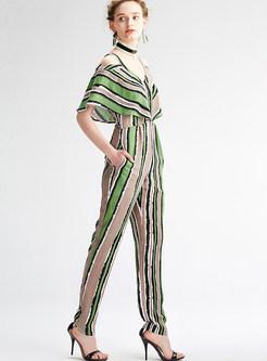 Fashion Stripe Loose V-neck Jumpsuit
