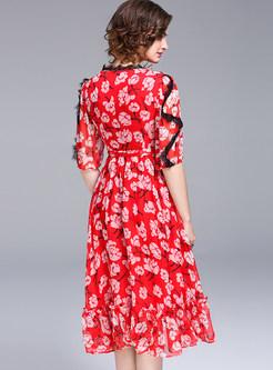Sweet V-neck Tight Waist Skater Dress
