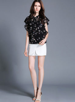Chic Chiffon Floral Print Falbala Sleeve Pullover Top