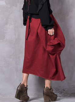Retro Red Asymmetric Patch Skirt