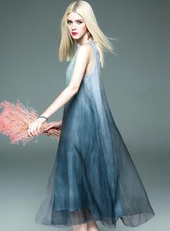 brief dipdyed sleeveless silk organza shift dress