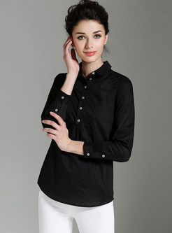 Brief Pure Color Turn Down Collar Blouse