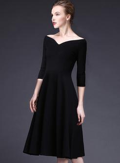 Sexy Black V-neck Waist Big Hem A-line Dress