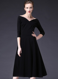 Sexy Black V-neck Waist Big Hem A-line Dress