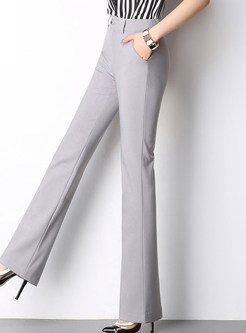 Brief High-Waist Slim Solid Color Flare Pants