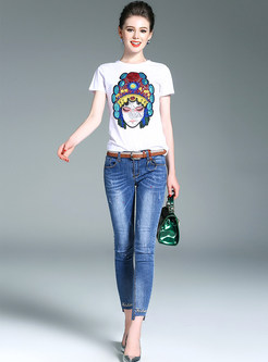 Casual Ethic Short Sleeve Slim Embroidery T-Shirt