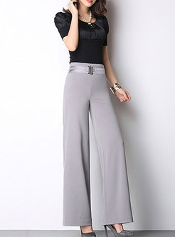 Brief High-Waist Loose Wide Leg Pants