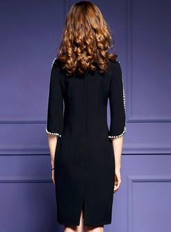 Work Slim Split Half Sleeve Bodycon Dress Without Brooch