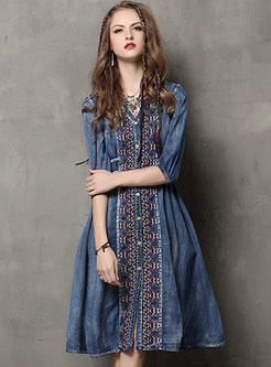Vintage Embroidery Three Quarters Sleeve Cardigan Skater Dress