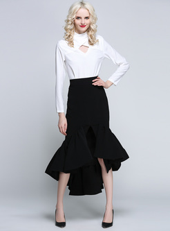 Chic Pure Color Slim Mermaid Skirt