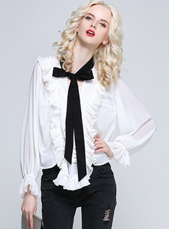 Color Blocked Bowknot Falbala Flare Sleeve Blouse