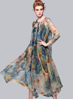 Dresses Maxi Dresses Fashionable Asymmetric Print See